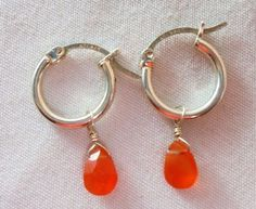 Vintage Sterling Silver Orange Glass Earrings Signed 925 Pierced 1.6 Grams Boho! #Unbranded #DropDangle