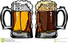 Beer Or Root Beer Mugs Vector Illustration Stock Photo - Image: 20673170