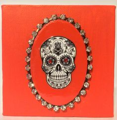 Day of the dead canvas - sugar skull - canvas - dio de muertos - home decor - wall art - canvas with skull in red - mixed media - DOD