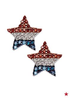 Put a patriotic finishing touch on your Independence Day look with sparkling diamond American flag stud earrings. Red, white and blue diamonds make one shiny pledge of allegiance. Patriotic Clothing, Patriotic Outfit, Diamond Studs, Jewelry Art, Vintage Jewelry, Fine Jewelry, American Pride, American Flag, Jewerly