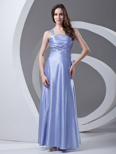Elastic Woven Satin One Shoulder Ankle Length Sequin Prom Dress on nextdress.co.uk