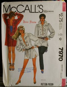 McCalls 7970  Misses Boho Style Ruffled Shirt Vintage Sewing Pattern Sz 10-12