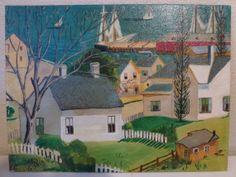 Original Oil Painting Art Coastal Seaside Town Nautical Ocean Rustic Primitive 12X16