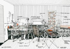 42 Sketches, Drawings and Diagrams of Desks and Architecture Workspaces,Submitted by Tudor Adina-Mihaela