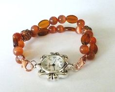 Rust Catseye Glass Interchangeable Watch Band by PennysBeadQueen2, $11.00