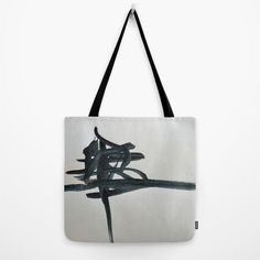Minimal Black and white tote bag with abstract art by studioRS