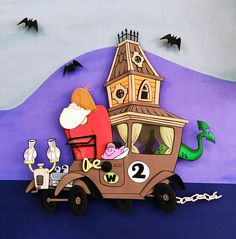The Creepy Coupe (Coupê Mal Assombrado) Paper Sculpture by Vlady and Helena Keiko - Exposição Cartoon Journey in Paper