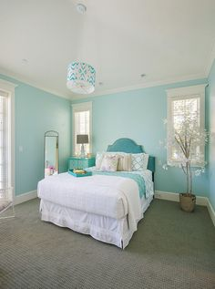 Turquoise Room Bedroom Beach Style With Pendant Light Headboard