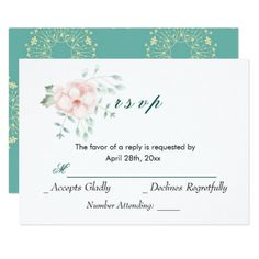Vintage Floral Wedding RSVP Reply Card - floral gifts flower flowers gift ideas
