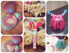 love the love bug-  make a shaggy pom pom with yarn by using a piece of cardboard about 4inches long. hot glue it to the top of a 5oz Dixie cup. then just glue on some googly eyes and pipe cleaner antennas. add a sparkly pom pom to the ends or paper hearts.