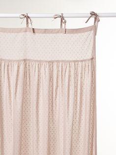 Vorhang mit Bindebändern, Tupfenmull, gerafft ROSA+WEIß