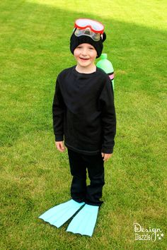 This DIY: scuba diver Halloween costume is easy to make and includes the tutorial. Your child will love being a scuba diver for Halloween.