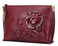 cf49debc7664 Superior Design Genuine Leather Embossed Envelope Clutch Bag