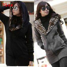 Korean Fashion Womens Winter Zip Up Fleece Jackets Casual Hooded Outerwear Coats