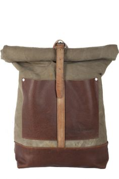 canvas leather roll top backpack