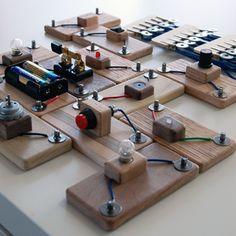 Wood Circuit Blocks Set