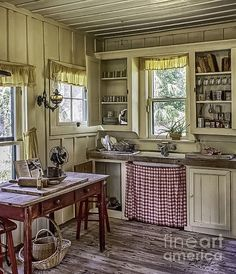 farmhouse kitchen Wooden Table Print featuring the photograph Cross Creek Country Kitchen by Lynn… # Old Country Kitchens, Home Kitchens, Old Farmhouse Kitchen, English Cottage Kitchens, Small Cabin Kitchens, Farmhouse Style, Country Kitchen Designs, Modern Kitchens, Dream Kitchens