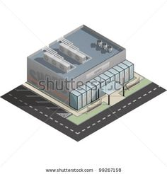 An isometric artwork of an industrial shop building saved as an EPS version 10. by TheVectorminator, via ShutterStock