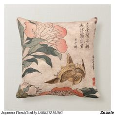 Japanese Floral/Bird Throw Pillow