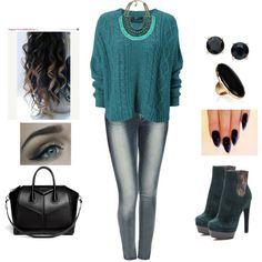 Sweater by teodoramaria98 on Polyvore featuring Wet Seal, Givenchy, Kenneth Jay Lane and Zara