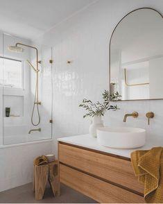 Neutral Bathrooms Designs, Neutral Bathroom Tile, Laundry Room Bathroom, Wood Bathroom, Bathroom Renos, Simple Bathroom, Bathroom Interior Design, Bathroom Renovations, Round Bathroom Mirror
