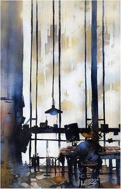 The Architect by Thomas W. Schaller Watercolor ~ 22 inches x 14 inches