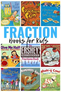 Learning about fractions does not come easily for many of our students. Fortunately, many classrooms have access to manipulatives to make learning hands-on, engaging, and fun. But, don't underestimate the value of a good book. Here are some children's books about fractions to help get your students excited about math! Teaching Fractions, Math Fractions, Teaching Math, Maths, Teaching Ideas, Multiplication, 2nd Grade Classroom, 1st Grade Math, Second Grade