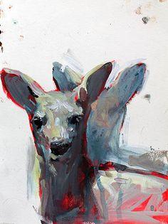 Deer, acrylic on paper   Elly Smallwood