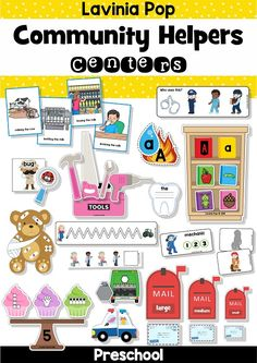 Community Helpers Preschool Centers ** Please NOTE: This packet is included in my Preschool Centers MEGA BUNDLE. Please do not purchase this resource if you already own the bundle. Preschool Centers, Preschool Themes, Preschool Lessons, Eyfs Activities, Class Activities, Educational Activities, Community Helpers Activities, Community Workers, Community Service