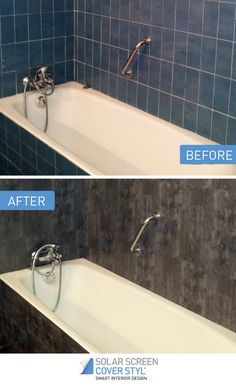 Before and after pictures of what your bathroom could look like with Cover Styl' self-adhesive vinyl films! With Cover Styl', your renovation projects have never been easier. Get inspired by subscribing our Pinterest account. More info on coverstyl.com   Facebook: https://www.facebook.com/cover.styl LinkedIn: https://www.linkedin.com/company-beta/10144504 Instagram: https://www.instagram.com/solarscreen_international/ YouTube: https://www.youtube.com/channel/UCkVNfISU6Qj1-118123DMvA