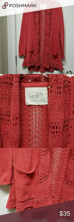 """Anthropologie Angel of the North crochet cardigan Anthropologie Angel of the North muted terracotta crocheted cardigan 35"""" length back neck to hem size S only a few times gently worn well maintained,  like new. Anthropologie Sweaters Cardigans"""