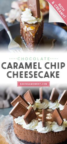 Chocolate Caramel Chip Cheesecake: So rich, creamy, and chocolate-y, it's almost like eating a candy bar! An easy yet impressive make-ahead dessert. #chocolatecheesecake #chocolate #cheesecake #caramel #saltedcaramel #dessert #creamcheese #bakingamoment Make Ahead Desserts, Delicious Desserts, Chocolate Cheesecake, Cheesecake Recipes, New Recipes, Caramel, Sweet Treats, Deserts, Chips