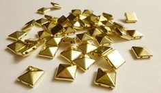 50+Gold+Pyramid+Square+Rivet+Stud+Spikes++10mm+by+SuppliesSundries,+$2.99