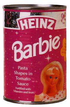 barbie in tomato sauce...hmmmm. #barbie #heinz #food #packaging #pink