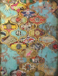 Jill Ricci--2013..Pink Giraffe (Oasis), mixed media on canvas, 30x40