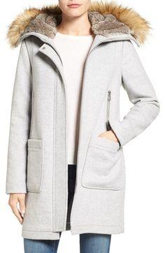Main Image - Vince Camuto Wool Blend Duffle Coat with Faux Fur Trim Hood Duffle Coat, Parka Coat, Wool Coat, Grey Parka, Cute Winter Coats, Clothing Blogs, Outdoor Fashion, Black Friday Shopping, Hooded Parka