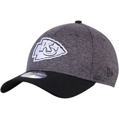 7a454e1de002a Men s Kansas City Chiefs New Era Heathered Gray Black Black Logo Shadow  Tech 39THIRTY Flex
