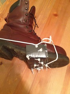 DIY Ice cleats for traction in an ice storm Instructions: Cut a strip of sturdy cardboard the width of your shoe or boot and cover with duct tape. Punch holes in this piece in the middle of each of the 4 sides 1/2 inch from the edge. Punch multiple holes 1/2 inch apart in the middle. Pull zip ties through each hole and secure, trim zip tie tails to 1/4 inch. Thread paracord through the 4 zip ties on the edges and bind to shoe with sturdy knot.