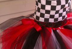 Race Day Tutu 2T5T Red and Black and White or by FromDiapers2Divas, $25.00