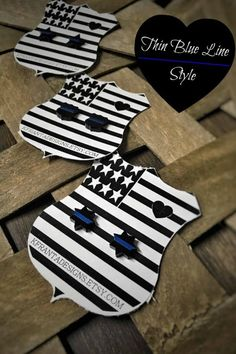 Thin Blue Line Black Badge Shape Earrings Law Enforcement Police Sheriff Deputy Trooper LEOW LEO Gift Jewelry Gifts for Her 5 6 7 Sheriff Female Police Officers, Police Officer Gifts, Police Gifts, Gifts For Wife, Gifts For Her, Sheriff Deputy Wife, Police Shield, Cop Wife, Christmas Stocking Stuffers