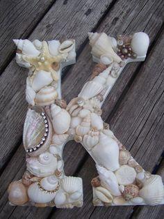 Shell Covered Letters/Initials - Beach Themed Wedding Decor, Beach Wedding Gift Idea. $60.00, via Etsy.