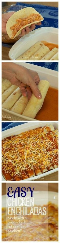 These Easy Chicken Enchiladas use a pre cooked rotisserie chicken. Perfect to add to your monthly dinner rotation! http://leavingtherut.com/easy-chicken-enchiladas/