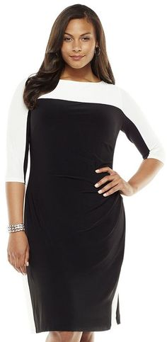 Colorblock sheath dress - women's plus = Plus Size and Fabulous at the Office