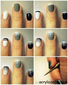 Love these! Black grey white nail art