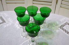 Vintage Candlewick Wine Glass Green Set of 6 PanchosPorch