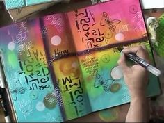 """How to Dylusions Paints Mixed Media Journaling in Colour Tutorial <a class=""""pintag searchlink"""" data-query=""""%233"""" data-type=""""hashtag"""" href=""""/search/?q=%233&rs=hashtag"""" rel=""""nofollow"""" title=""""#3 search Pinterest"""">#3</a> 'Hello I love you' - YouTube"""
