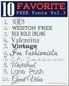 Favorite #free #fonts, vol. 3 | KK Monogram, Weston Free, Rex Bold Inline, Valentina, Vintage, I'm Fashionista, CK Cursive, Waterbrush, Lane Posh, Great Vibes