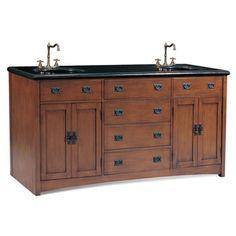 Mission Style 72-inch Medium Pecan Double Sink Bathroom Vanity - Overstock™ Shopping - Great Deals on Bathroom Vanities
