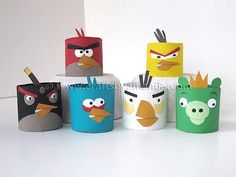 DIY Kids Crafts : DIY Angry Birds from Cardboard Tubes