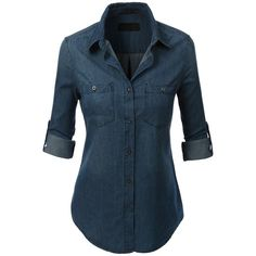 RubyK Womens Boyfriend Button Down Denim Shirt with Pockets at Amazon... ($16) ❤ liked on Polyvore featuring tops, button-down shirt, boyfriend tank top, denim button down shirt, boyfriend button down shirt and pocket shirts